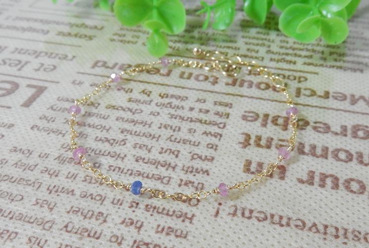 【Simple et Riche】ピンクサファイア&ブルーサファイア 14KGF ブレスレット