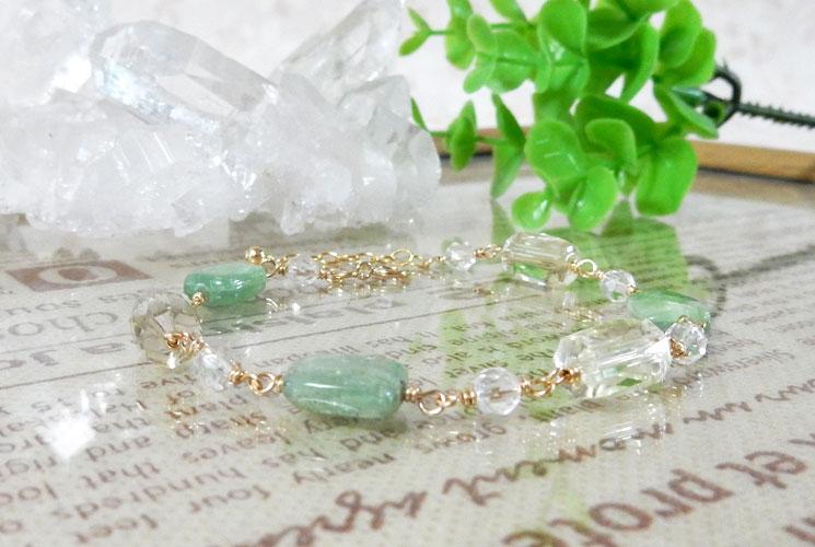 【Standard et Riche】グリーンカイヤナイト & レモンクォーツ 14KGF ブレスレット-2