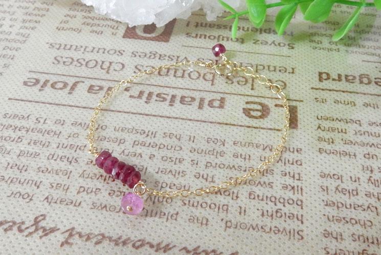 【Simple et Riche】高品質ルビー & ピンクサファイア 14KGF ブレスレット