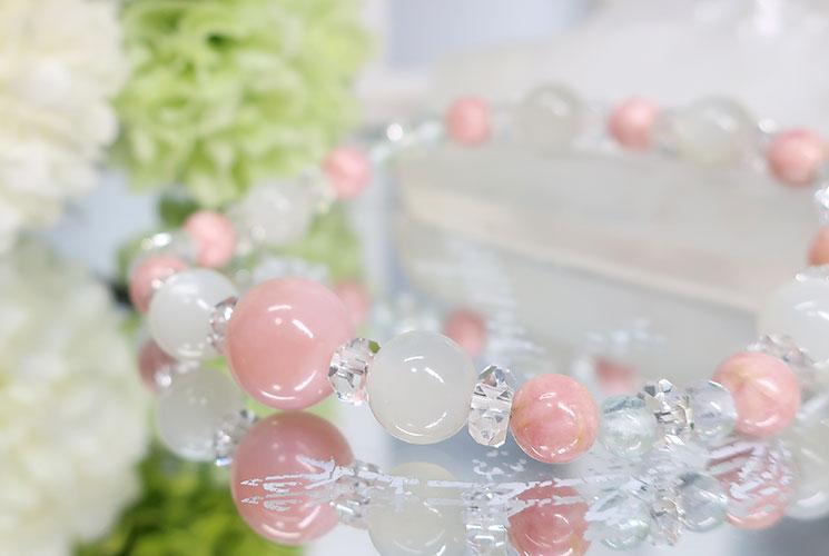 ピンクオパール&ホワイトムーンストーン ブレスレット-0