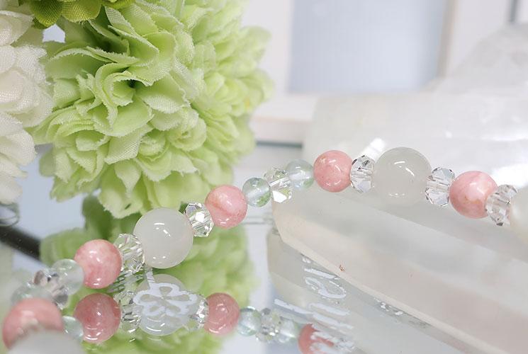 ピンクオパール&ホワイトムーンストーン ブレスレット-1