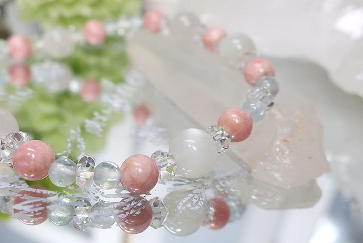 ピンクオパール&ホワイトムーンストーン ブレスレット-2