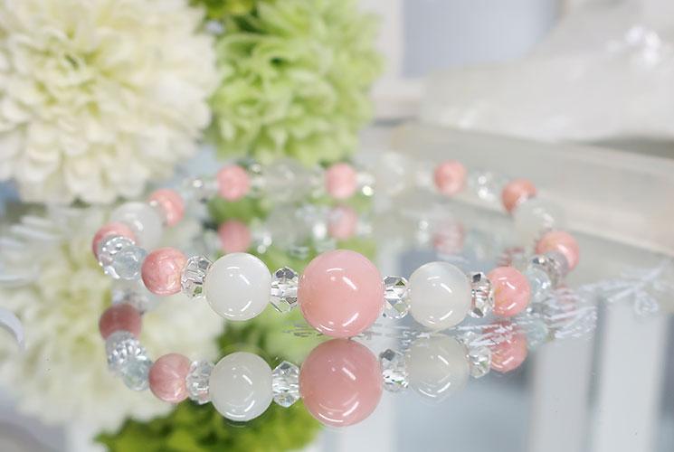 ピンクオパール&ホワイトムーンストーン ブレスレット-3