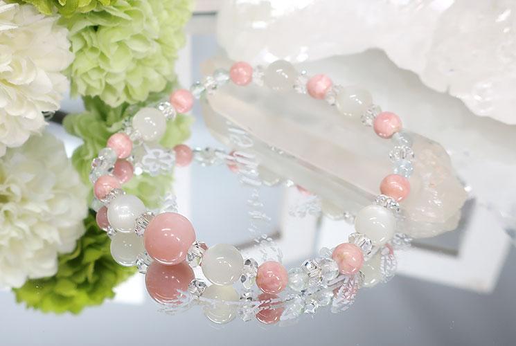 ピンクオパール&ホワイトムーンストーン ブレスレット