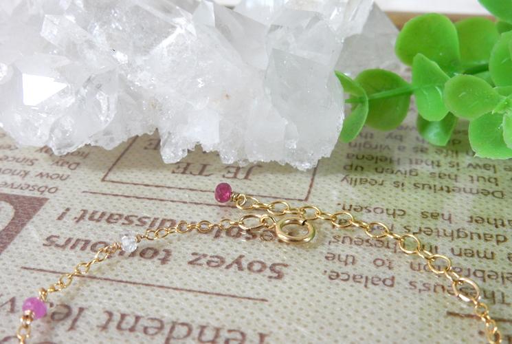 【Simple et Riche】ルビー&ピンクサファイア 14KGF ブレスレット-1