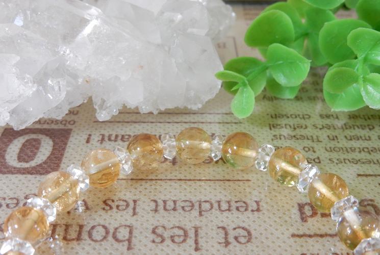シトリンとクォーツ(水晶)のブレスレット-1