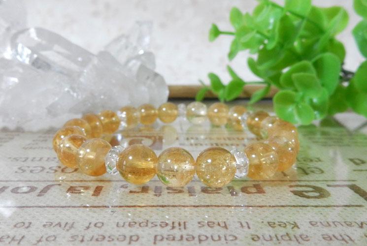 シトリンとクォーツ(水晶)のブレスレット-2