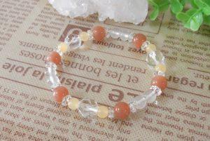 オレンジムーンストーンとアラゴナイトのブレスレット(15-br1210-01)