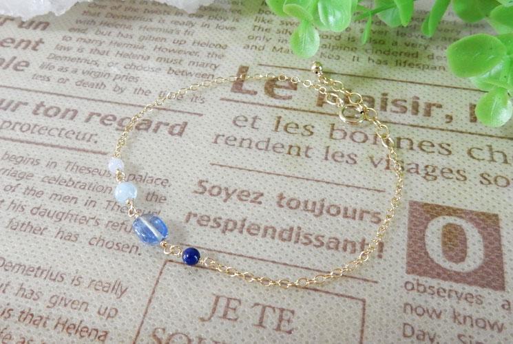 【Simple et Riche】カイヤナイト 14KGF ブルーグラデーション ブレスレット