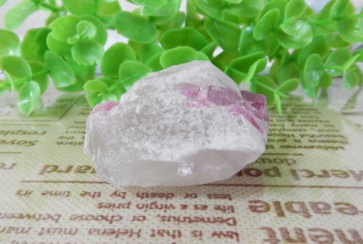 ブラジル産ピンクトルマリン原石(水晶共生)-3