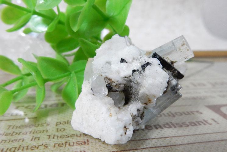 アクアマリン 原石(ブラックトルマリン・水晶共生)-3