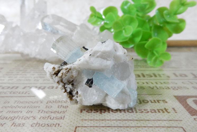 アクアマリン 原石(ブラックトルマリン・水晶共生)