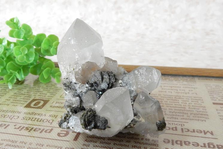 ヒマラヤ産クォーツ(水晶)のクラスター(エピドート共生)-1