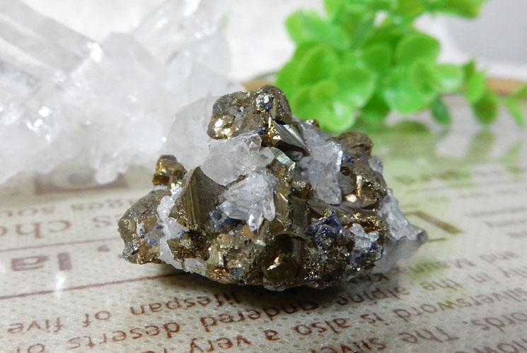 ペルー産パイライト(水晶共生)クラスター-0