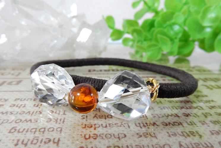 アンバー(琥珀) & クォーツ(水晶) ヘアゴム-0