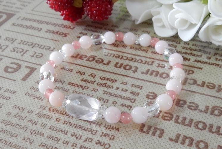 ピンクオパール&インカローズ ブレスレット