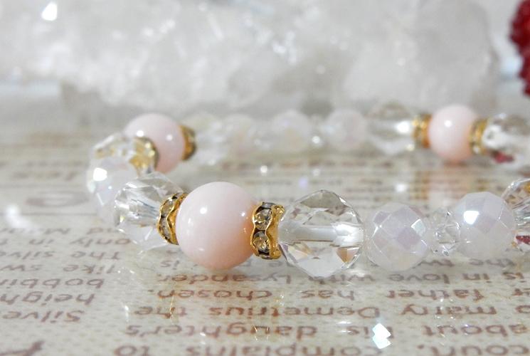 【恋の出会い】ピンクオパール&ローズオーラ ブレスレット-0