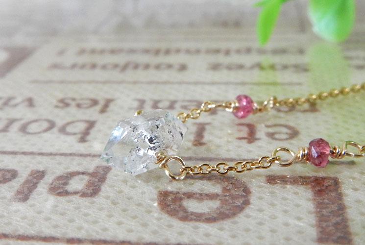 パキスタン産クォーツ(水晶) & ピンクスピネル 14KGF ネックレス-0