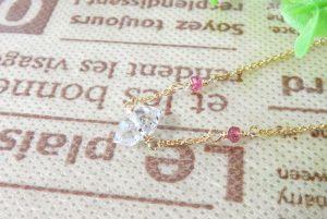 パキスタン産クォーツ(水晶) & ピンクスピネル 14KGF ネックレス(15-nk0510-01)