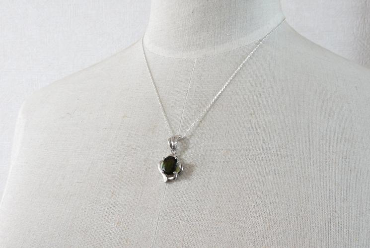 宝石質グリーントルマリン SV925 ネックレス-3