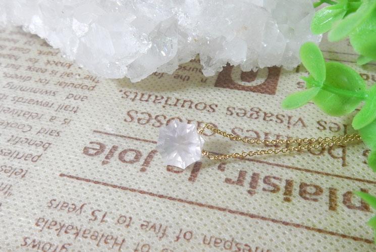宝石質ローズクォーツ オクタゴンファセット 14KGF ネックレス