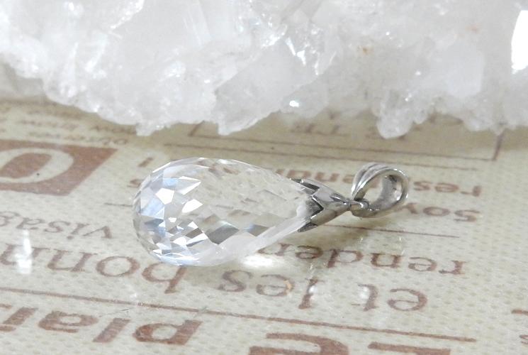 クォーツ(水晶) SV925  ドロップカットネックレス-0