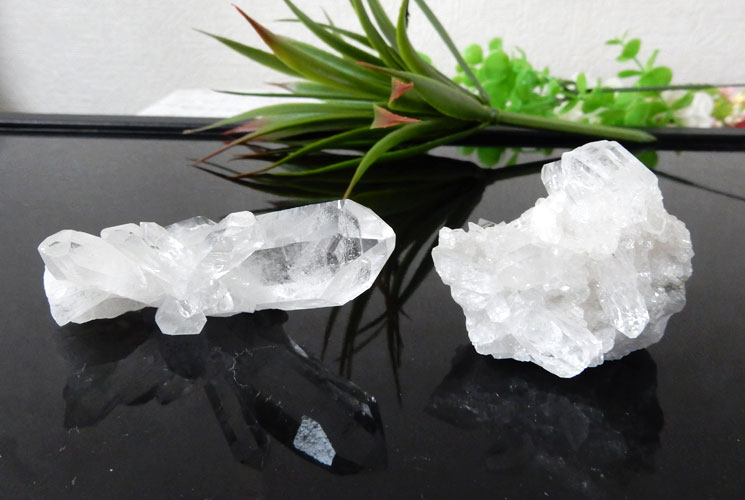 ブラジル産クォーツ(水晶)クラスター 2個セット