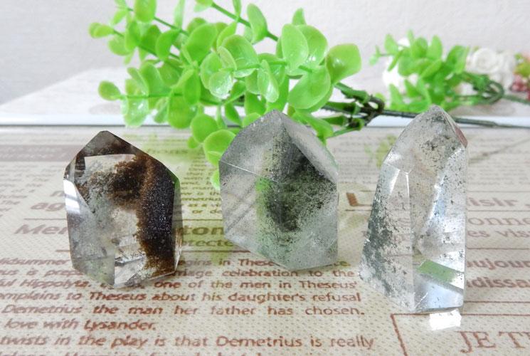 ブラジル産ガーデンクォーツ(水晶)ポイント 3本セット-4