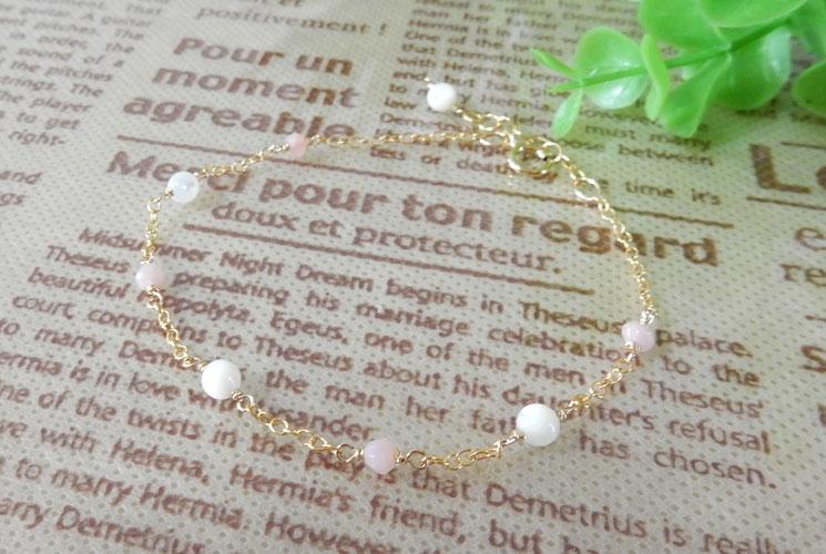 【Simple et Riche】ピンクオパール & マザーオブパール 14KGF  ブレスレット
