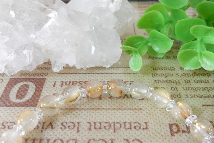 ルチルクォーツとクォーツ(水晶)のブレスレット-1