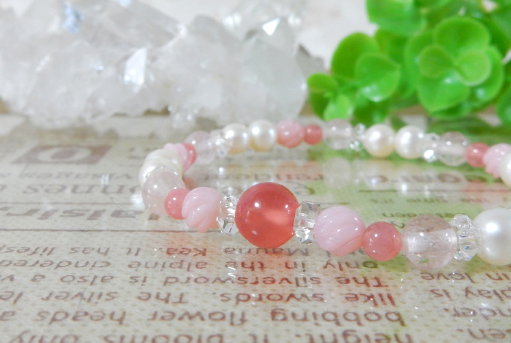 インカローズとピンクオパールのブレスレット-0