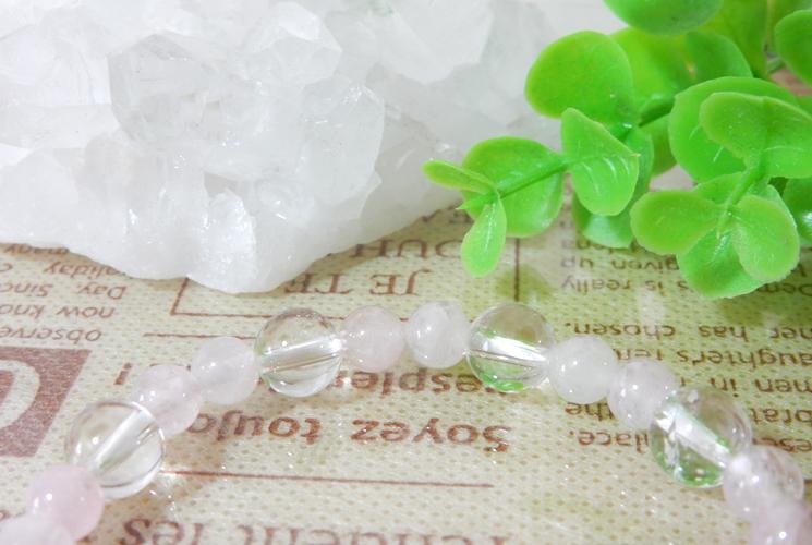 モルガナイトとクォーツ(水晶)の ブレスレット-1