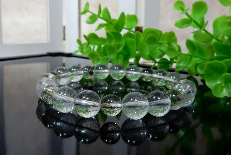 ヒマラヤ・ガネーシュヒマール産水晶とクローライトインクォーツのブレスレット-2
