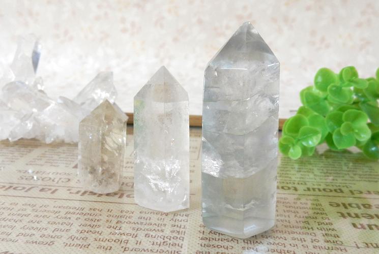 シトリンとクォーツ(水晶) とフローライトのポイント3本セット-0