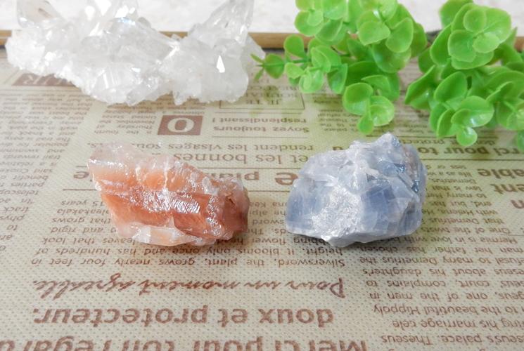 ピーチカルサイトとブルーカルサイトの原石セット