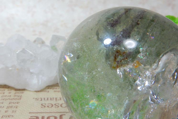 ブラジル産グリーンファントムクォーツの丸玉(スフィア)-1
