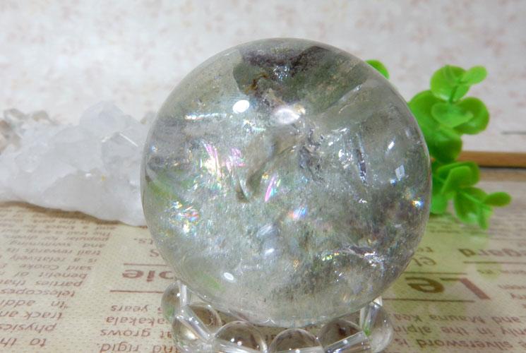 ブラジル産グリーンファントムクォーツの丸玉(スフィア)-2