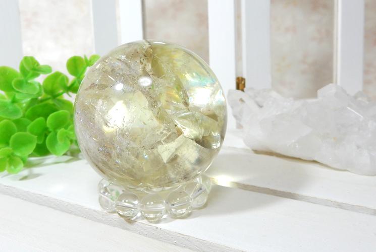 レモンクォーツの丸玉(スフィア)-1