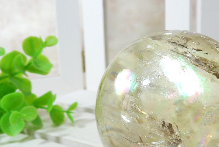 レモンクォーツの丸玉(スフィア)-2