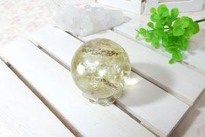 レモンクォーツの丸玉(スフィア)(16-gs0801-02)