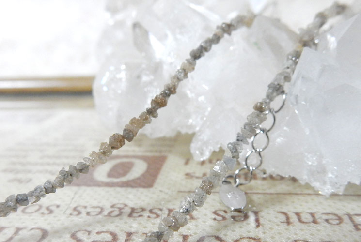 グレーダイヤモンドのSV925さざれネックレス-1