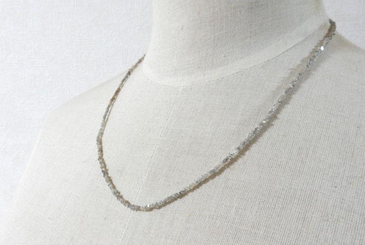 グレーダイヤモンドのSV925さざれネックレス-4