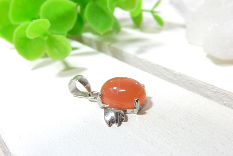 【特価品】オレンジムーンストーンの天使モチーフSV925ペンダント-1