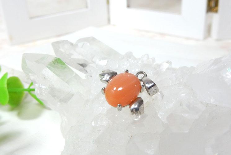 【特価品】オレンジムーンストーンの天使モチーフSV925ペンダント-2