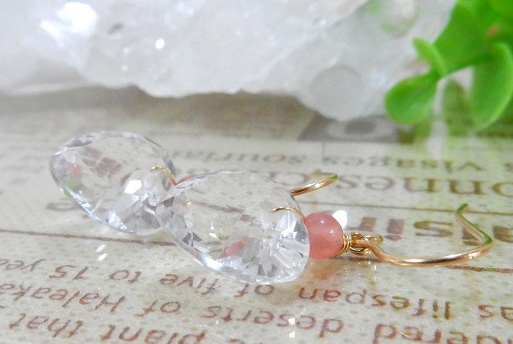 宝石質クォーツ(水晶)とインカローズの14KGFフックピアス-0