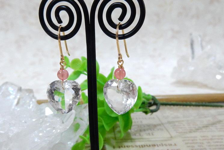 宝石質クォーツ(水晶)とインカローズの14KGFフックピアス-1