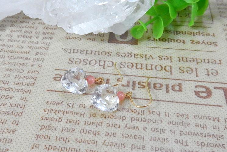 宝石質クォーツ(水晶)とインカローズの14KGFフックピアス