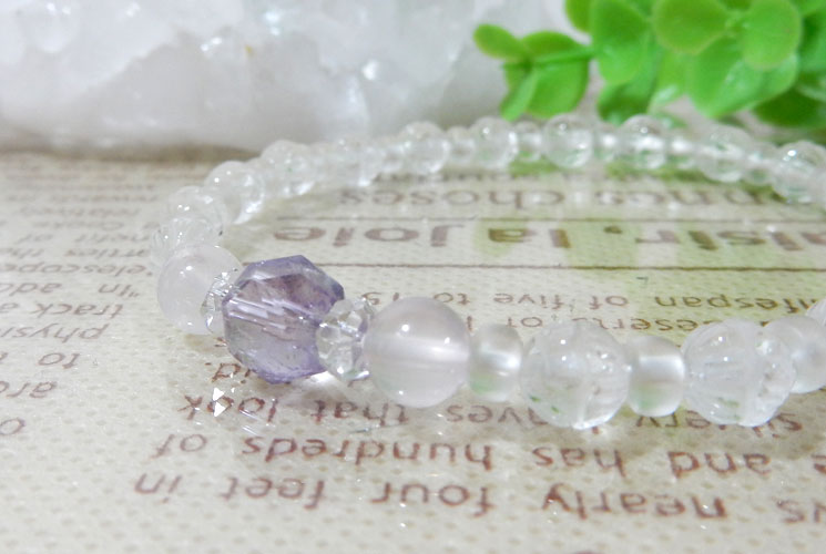 【特価品】クォーツ(水晶)とフロスティクォーツのブレスレット-0