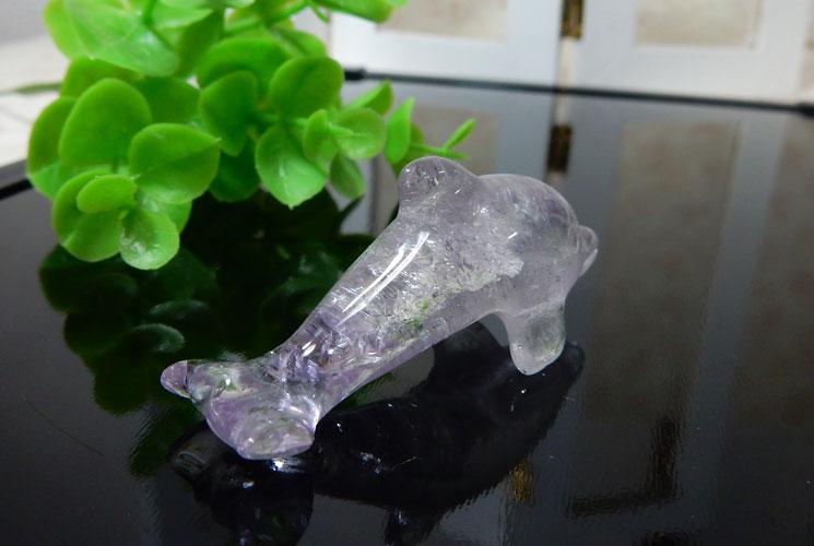 ラベンダーアメジストと水晶のイルカさんセット-2