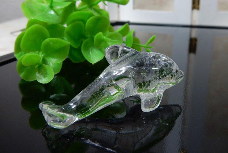 ラベンダーアメジストと水晶のイルカさんセット-4